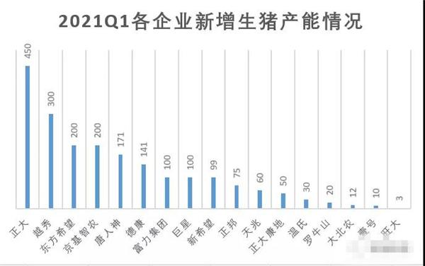 """021年1季度新增生猪产能情况梳理"""""""